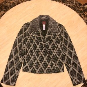 Auth New KENZO Wool-Blend Patterned Jacket Size 42